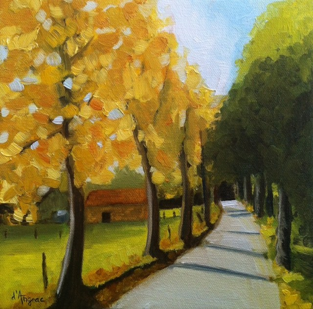 """Golden Leaves"" original fine art by Karen D'angeac Mihm"