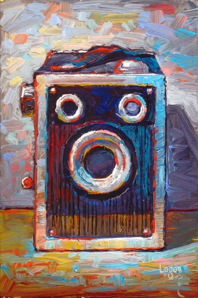 """Ansco Shur Shot Box Camera"" original fine art by Raymond Logan"