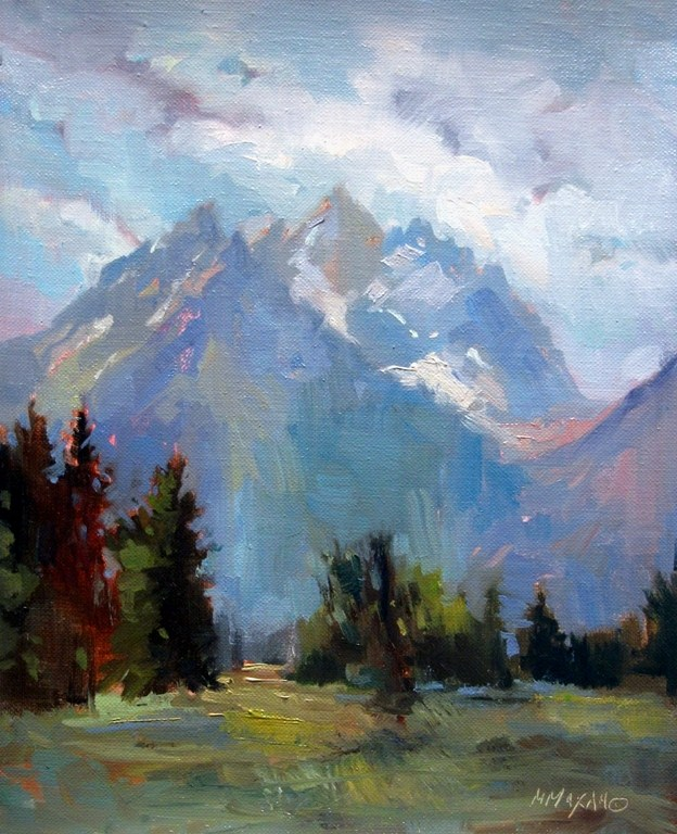 """View Of The Tetons - Jackson, Wyoming oil landscape"" original fine art by Mary Maxam"