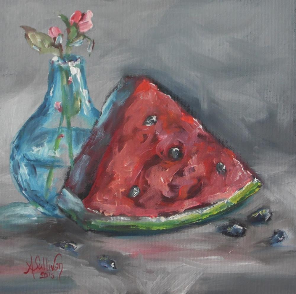 """A Little Pink Bud still life painting by Alabama Artist Angela Sullivan"" original fine art by Angela Sullivan"