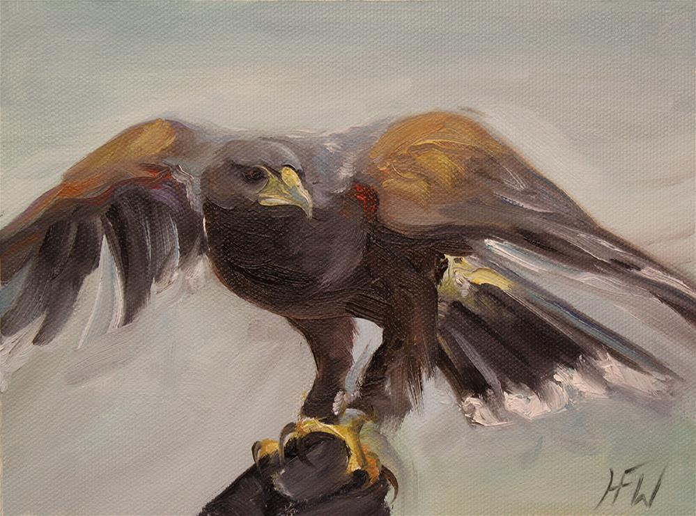 """Hawk in hand"" original fine art by H.F. Wallen"