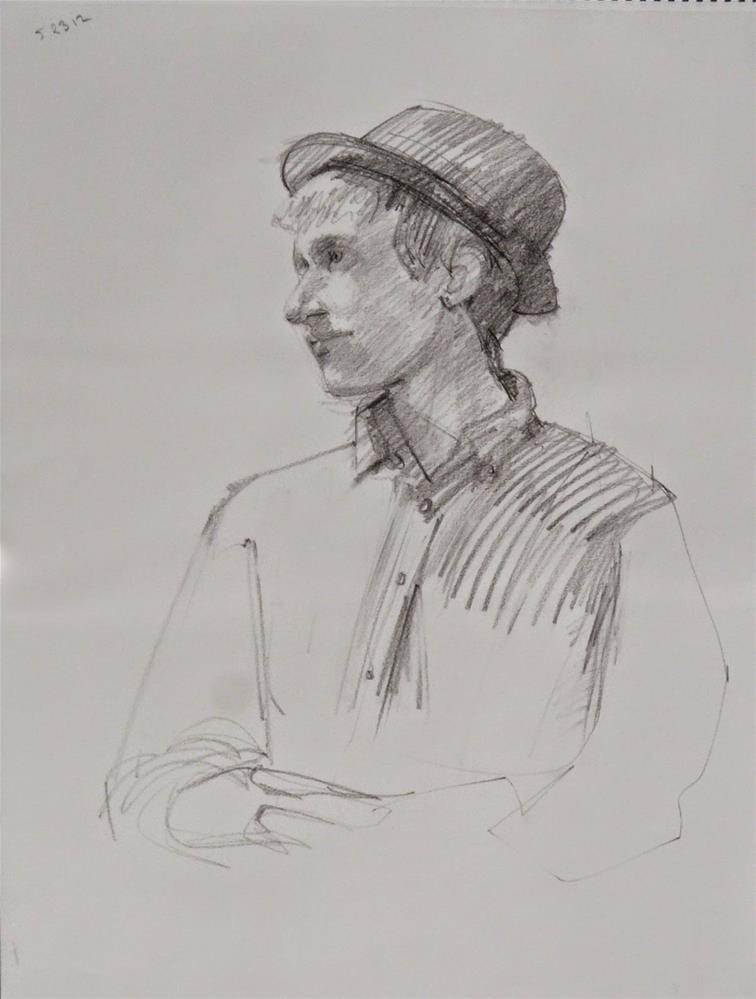 """Street Juggler,portrait,graphite,24x16,price$175"" original fine art by Joy Olney"