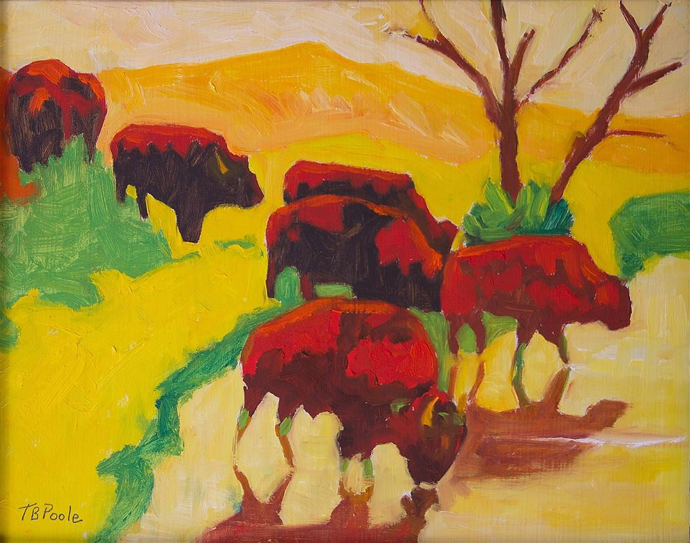 """Bison Art Bison Crossing Stream Yellow Hill painting Bertram Poole"" original fine art by Bertram Poole"