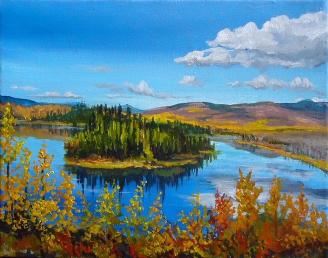"""Afternoon Reflections, Dragon Lake, The North Canol"" original fine art by Jackie Irvine"