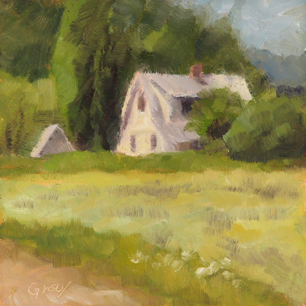 """White House and Little Shed"" original fine art by Naomi Gray"