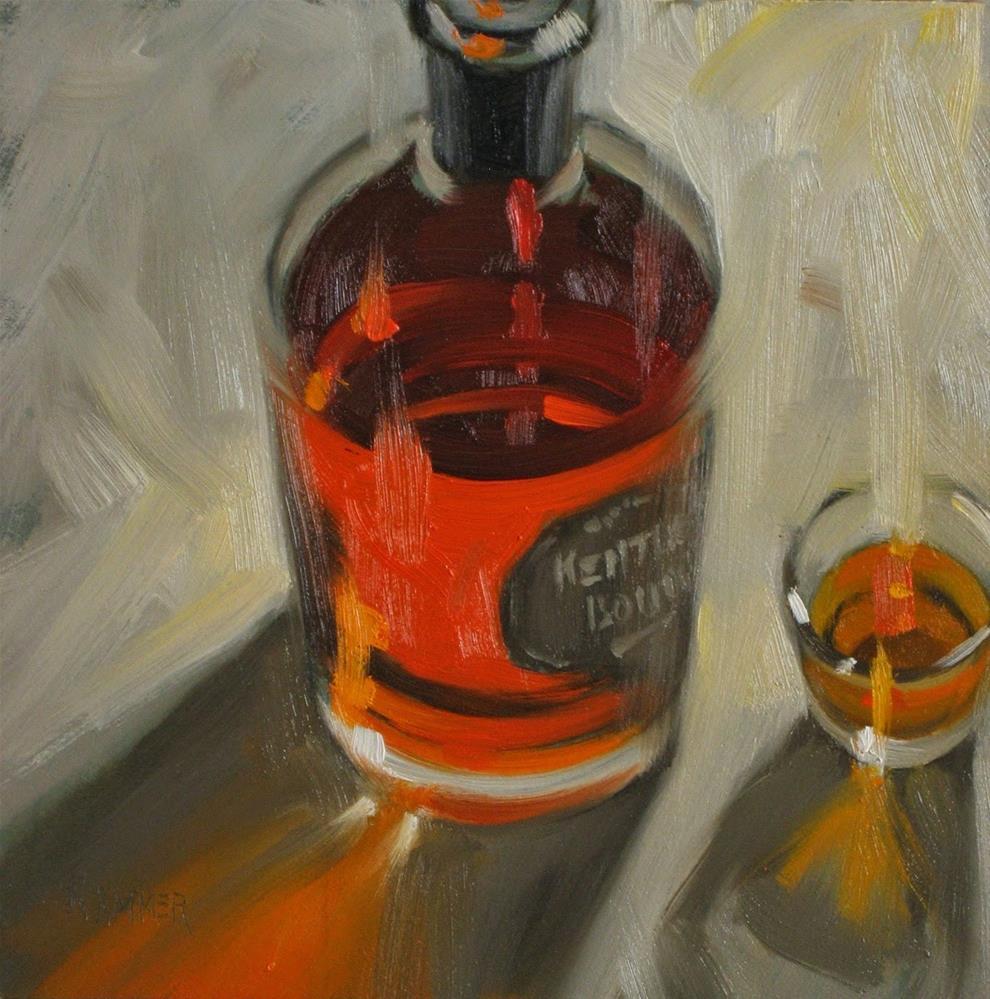 """Kentucky Bourbon, Trader Joe style 6x6 oil"" original fine art by Claudia Hammer"