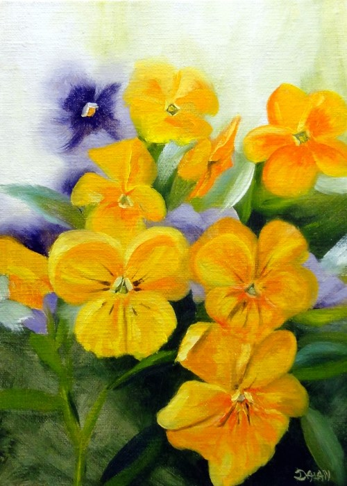"""Springs First Pansies"" original fine art by Dalan Wells"