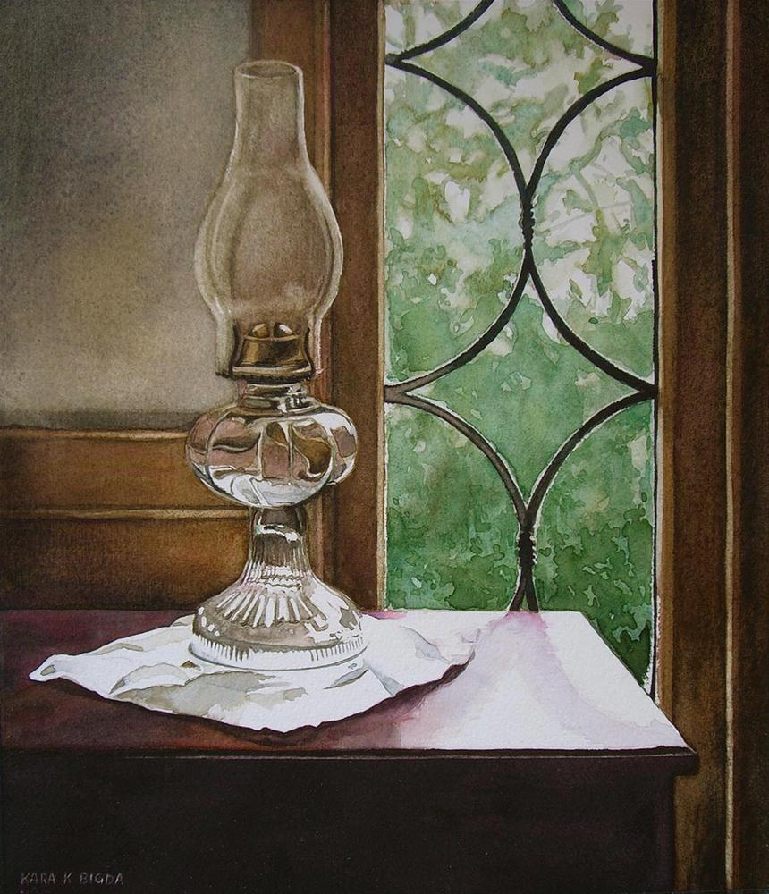 """Hurricane Lantern"" original fine art by Kara K. Bigda"