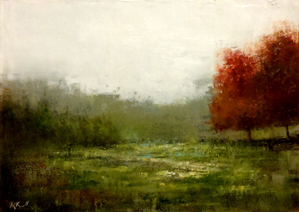 """Twin Red Trees"" original fine art by Bob Kimball"