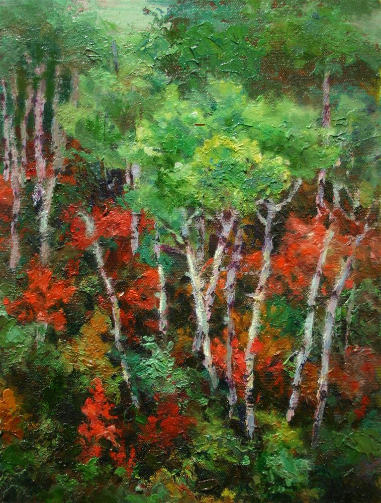 """Trees in Green and Red"" original fine art by K.R. McCain"
