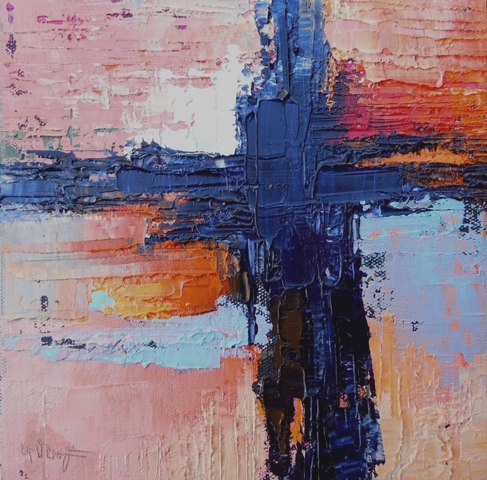 """Daily Painting, Small Oil Painting, Abstract Expressionism, Southwest Sunset, 8x8x1.5 Oil"" original fine art by Carol Schiff"