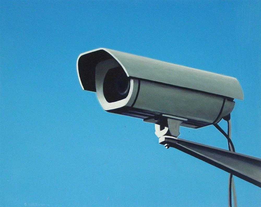 """Security Camera 7- Still Life Street Scene Painting Of CCTV Video Camera"" original fine art by Gerard Boersma"