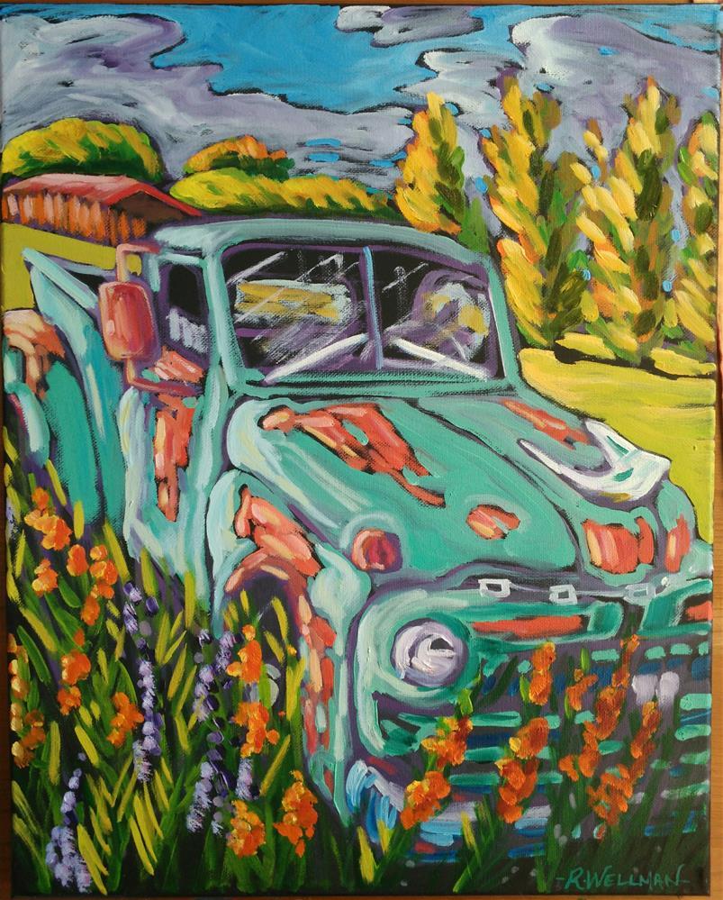 """Sheep co truck in Taos"" original fine art by Robyn Wellman"