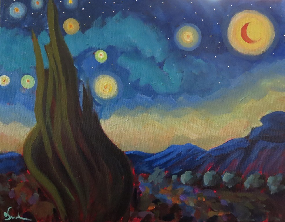 """MY STARRY NIGHT after Van Gogh"" original fine art by Dee Sanchez"