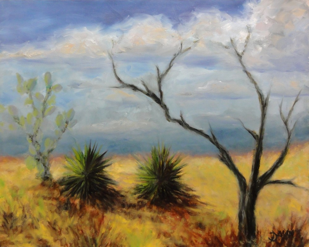 """Kiawe and Cactus at Diamondhead"" original fine art by Dalan Wells"