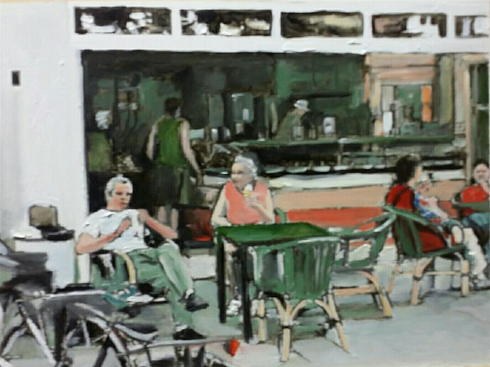 """Outside The Restaurant (12 x 16 oil on canvas paper - no frame)"" original fine art by Ramon DelRosario"