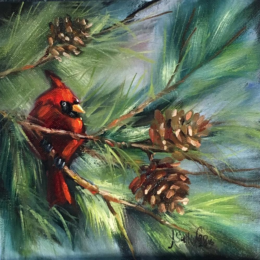 """""""Perched High red bird painting by Alabama Artist Angela Sullivan"""" original fine art by Angela Sullivan"""