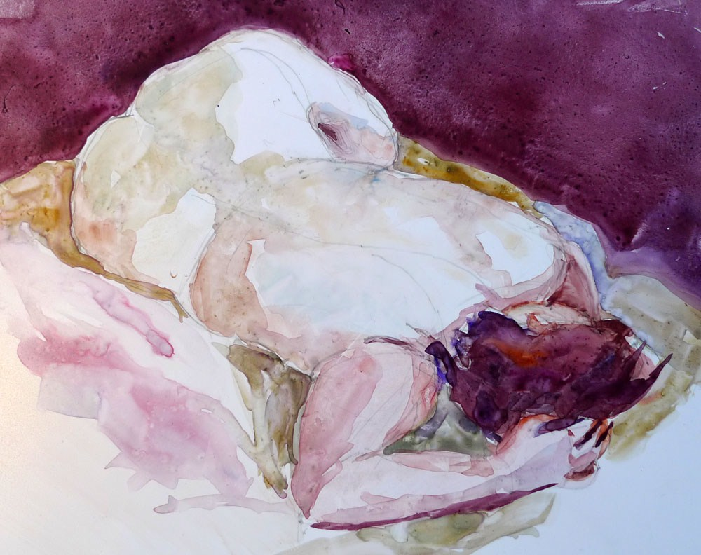 """Quiescence (Elle, relaxing)"" original fine art by Myriam Kin-Yee"