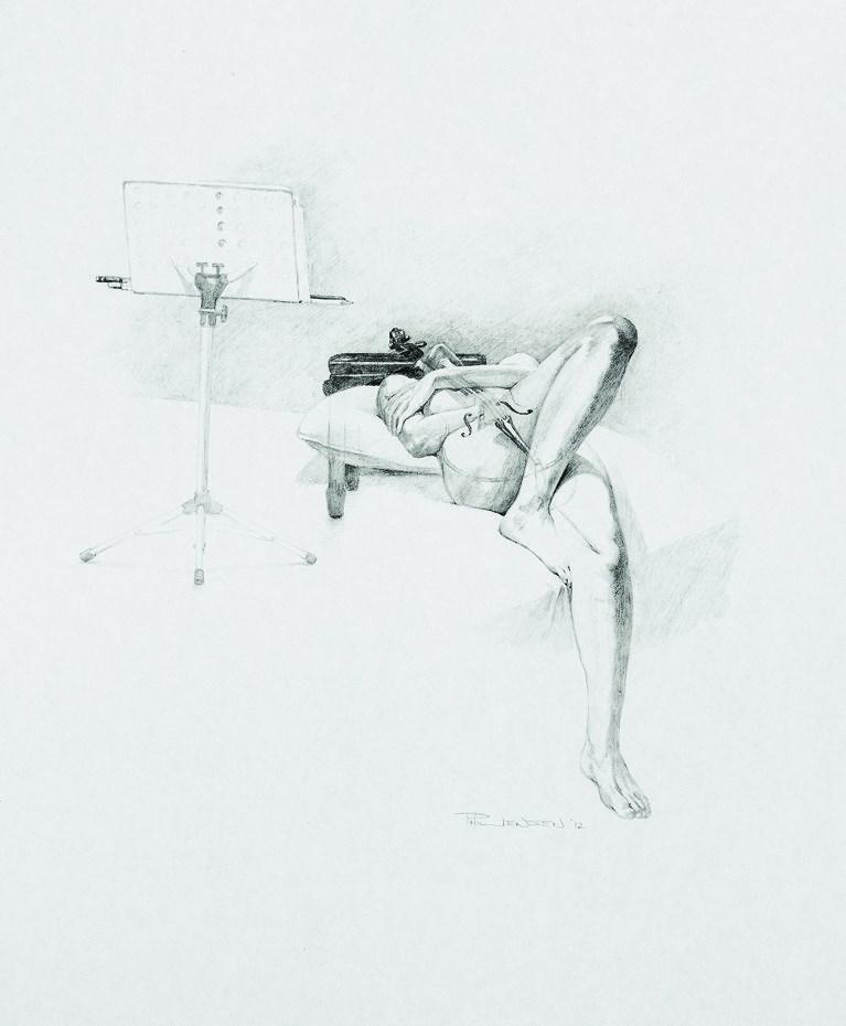 """""""Cello Interlude"""" original fine art by P D Jensen"""
