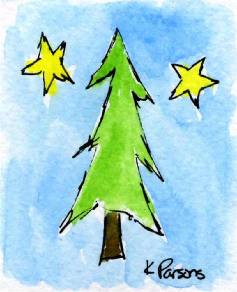 """Lone Lovely Pine Tree"" original fine art by Kali Parsons"