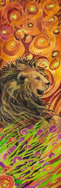 """Contemporary Colorful Animal Art ,Wildlife Painting Lion  by Colorado Artist Nancee Jean Busse"" original fine art by Nancee Busse"