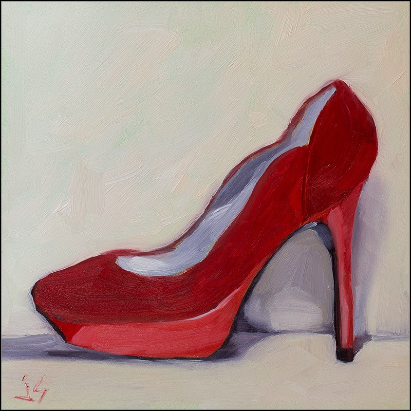 """30in30 - O 4 Outrageous Red Suede Shoe"" original fine art by Johnna Schelling"