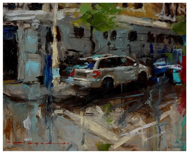 """19:15 - Urban Landscape"" original fine art by Angel Angelov"