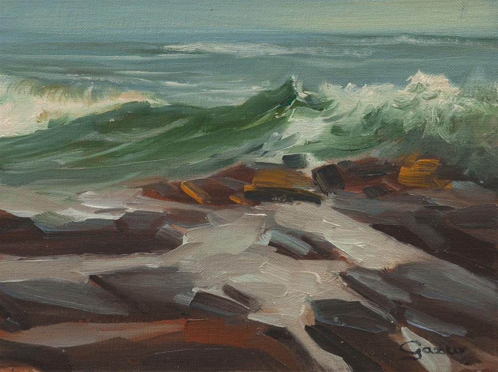 """Leffingwell Cove Wave in Cambria 6x8"" original fine art by Pavel Gazur"