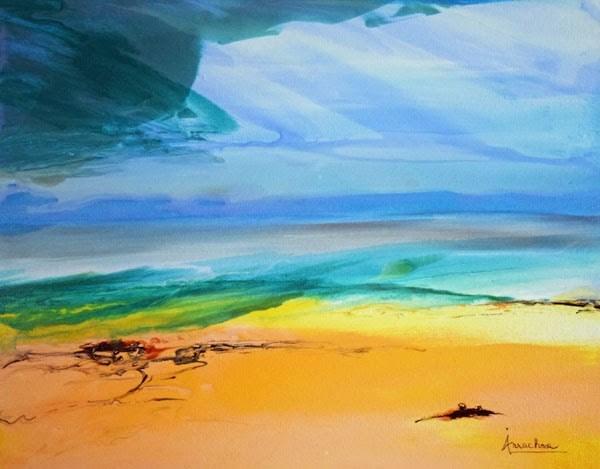 """Fluid Contemporary Landscape Painting Silent Strength by Contemporary International Artist Arrachm"" original fine art by Arrachme Art"