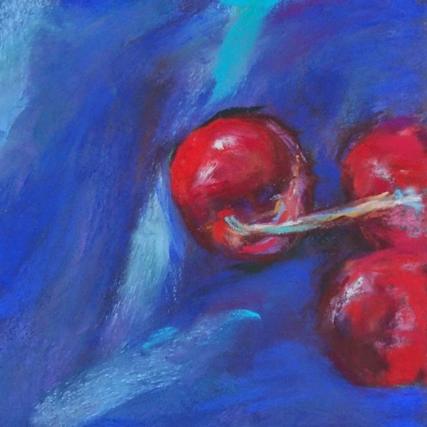 """3 CHERRIES - 5 x 5 pastel by Susan Roden"" original fine art by Susan Roden"