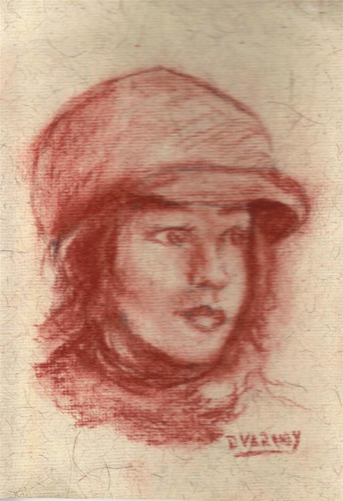 """Girl with hat"" original fine art by Daniel Varney"