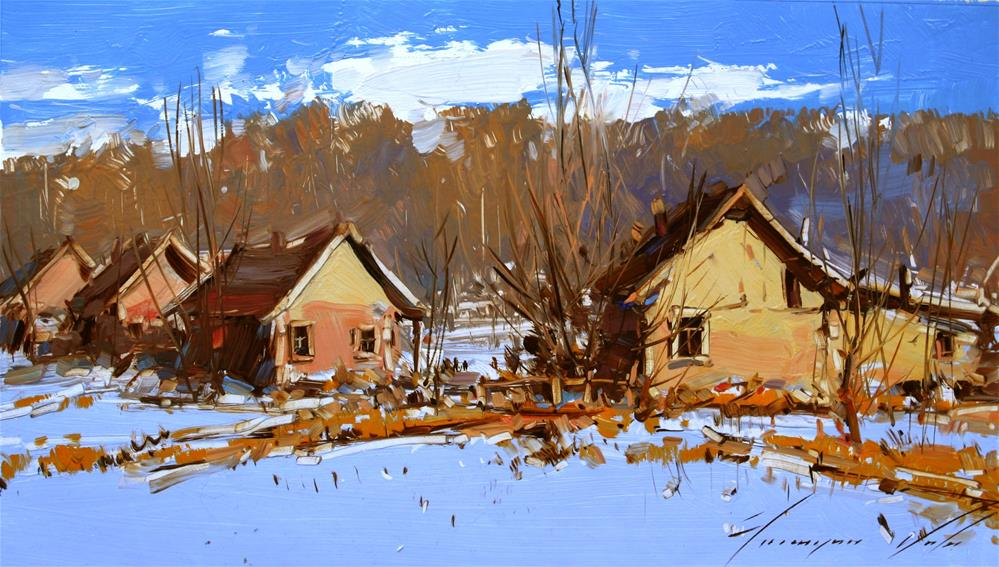 """VILLAGE SCENE IMPRESSIONISM OIL ON CANVAS"" original fine art by V Yeremyan"