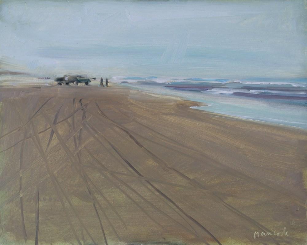 """Tracks on the Beach"" original fine art by Gretchen Hancock"