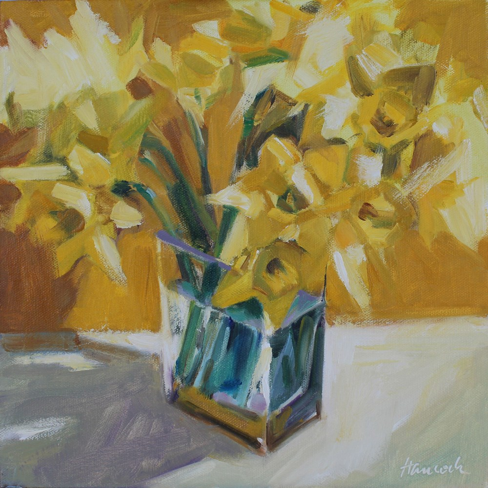 """Daffodil Bouquet on Gold"" original fine art by Gretchen Hancock"