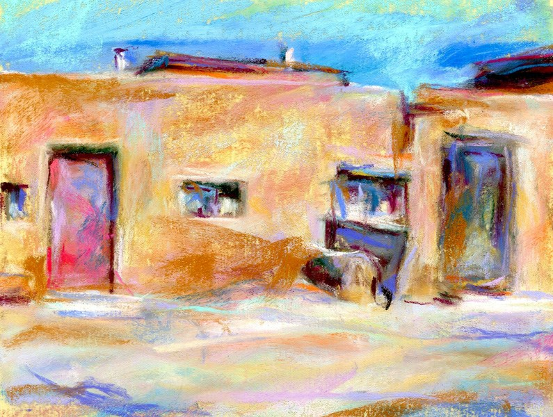 """SOLD! - PINK DOOR - 4 x 6 pastel by Susan Roden"" original fine art by Susan Roden"