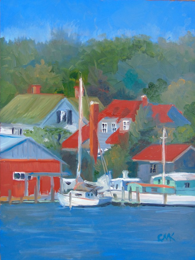 """Red Roofs of Reedville"" original fine art by Catherine Kauffman"