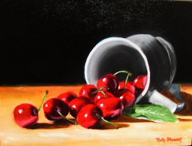 """""""Spilled Cherries"""" original fine art by Ruth Stewart"""