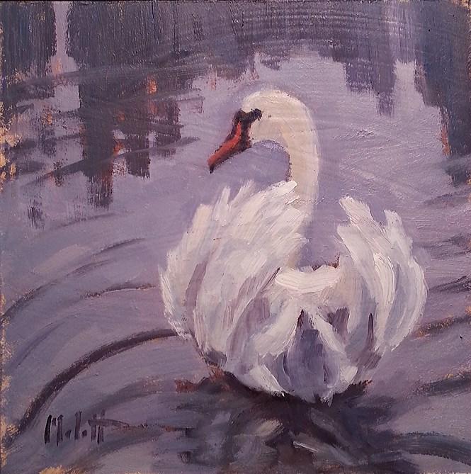 """Swan Elegance Contemporary Impressionism Original Oil Painting"" original fine art by Heidi Malott"