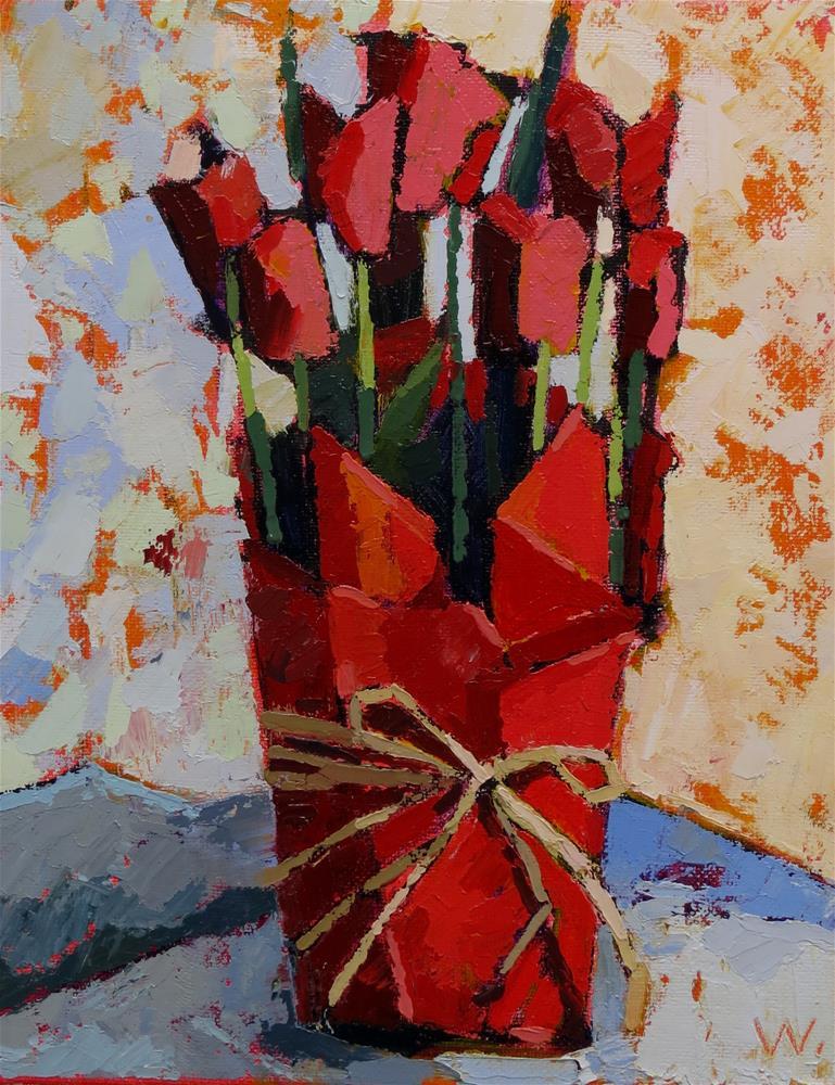 """Tulips Straight Up"" original fine art by Joan Wiberg"