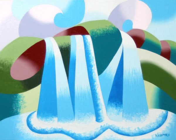 """Mark Webster - Abstract Geometric Waterfall Landscape Oil Painting"" original fine art by Mark Webster"