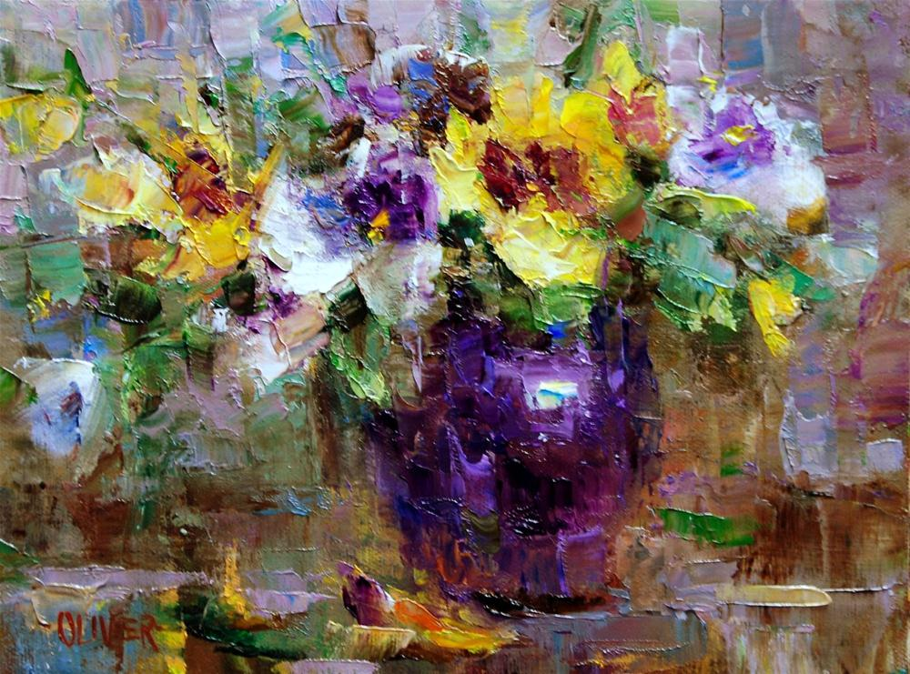 """Purple and Pansies"" original fine art by Julie Ford Oliver"