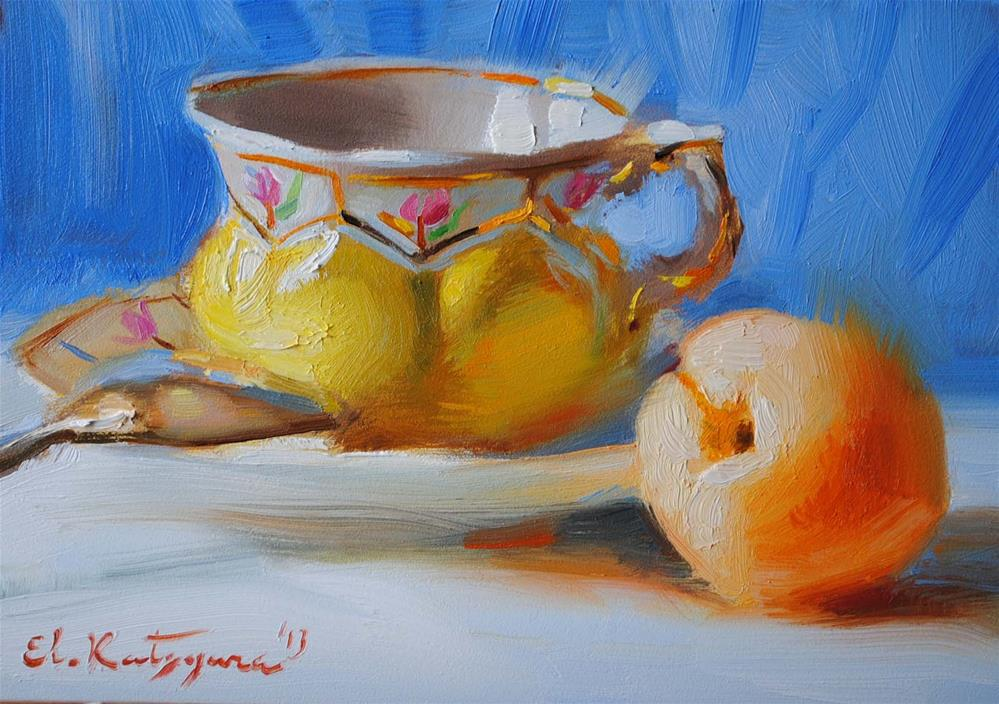 """Teacup and Apricot"" original fine art by Elena Katsyura"
