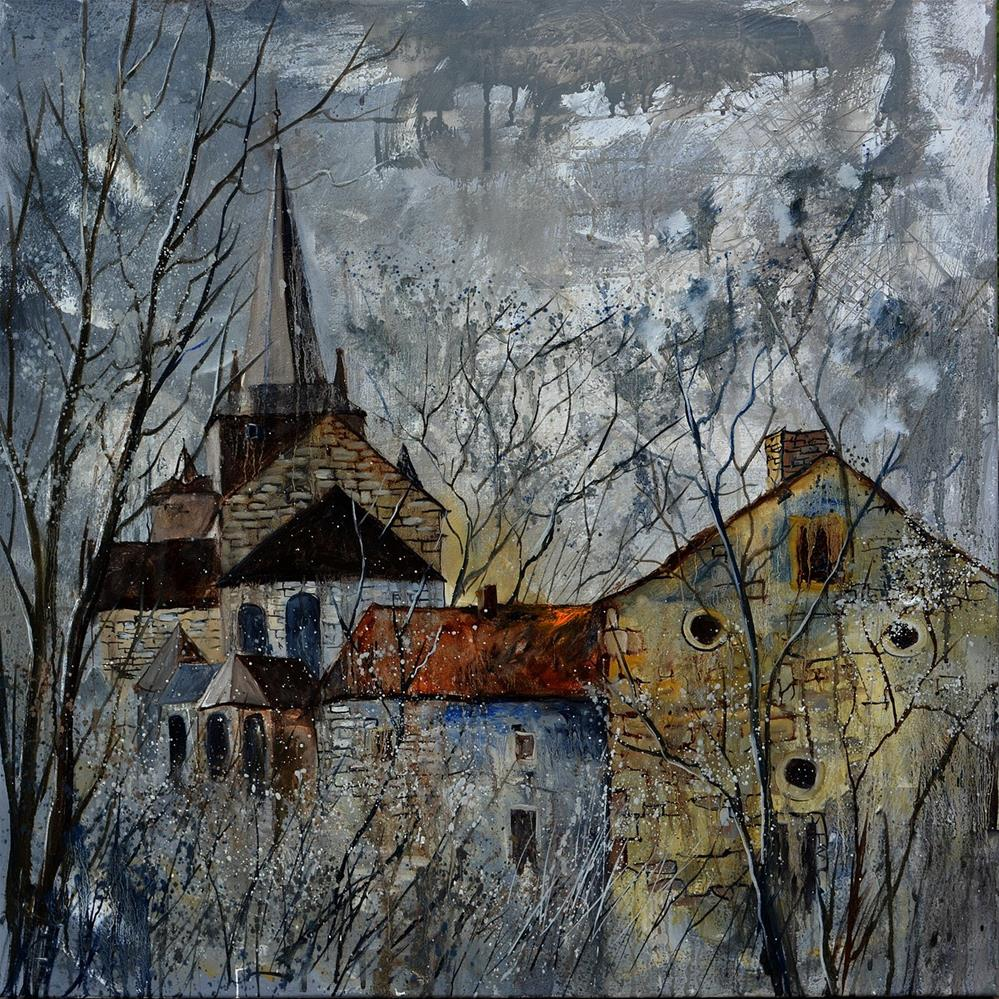 """Romanesque church Belgium"" original fine art by Pol Ledent"