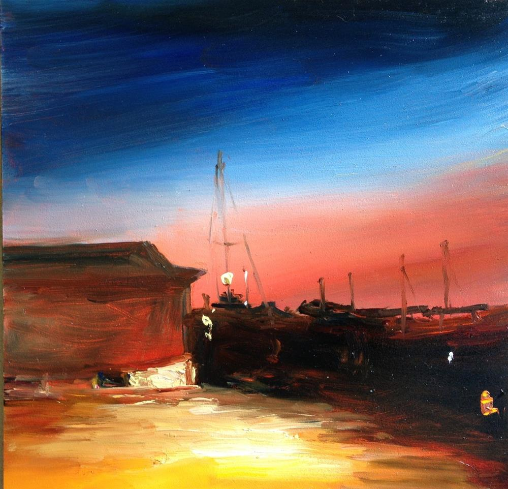 """Night in the Boatyard"" original fine art by Claudia L Brookes"