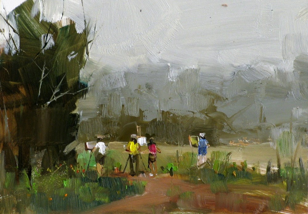 """Plein Air in the Morning"" original fine art by Qiang Huang"