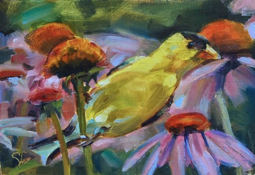 """Golden Finch, Finch on Coneflower, Original oil by Carol DeMumbrum"" original fine art by Carol DeMumbrum"