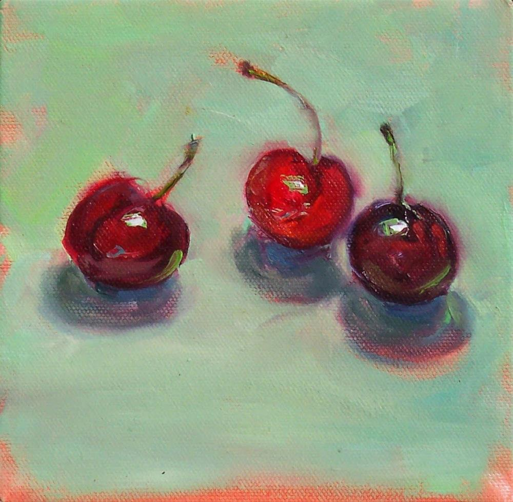 """Three Cherries,still life oil on canvas,6x6,price$200"" original fine art by Joy Olney"
