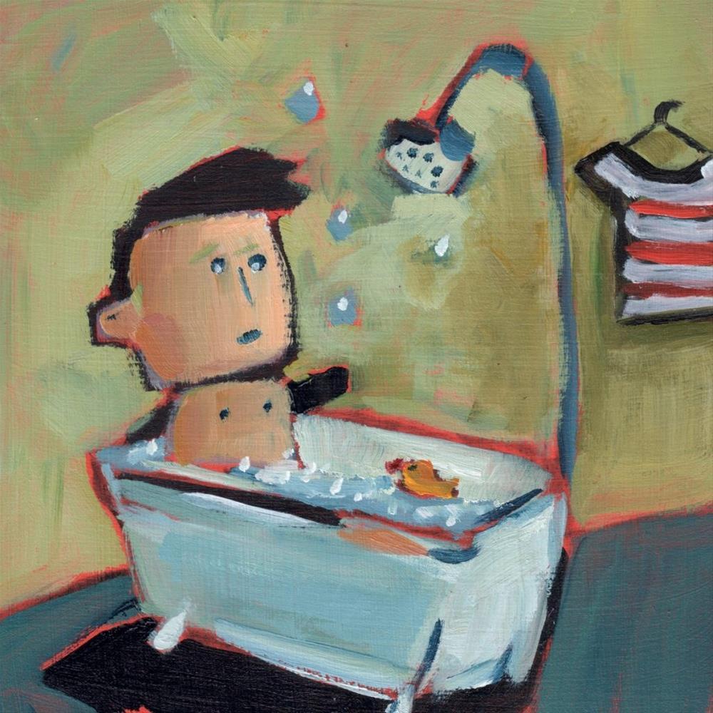 """""""Julius Takes a Bath (#359)"""" original fine art by Brian Miller"""