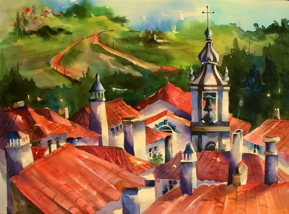 """Obidos Rooftops"" original fine art by Jinnie May"