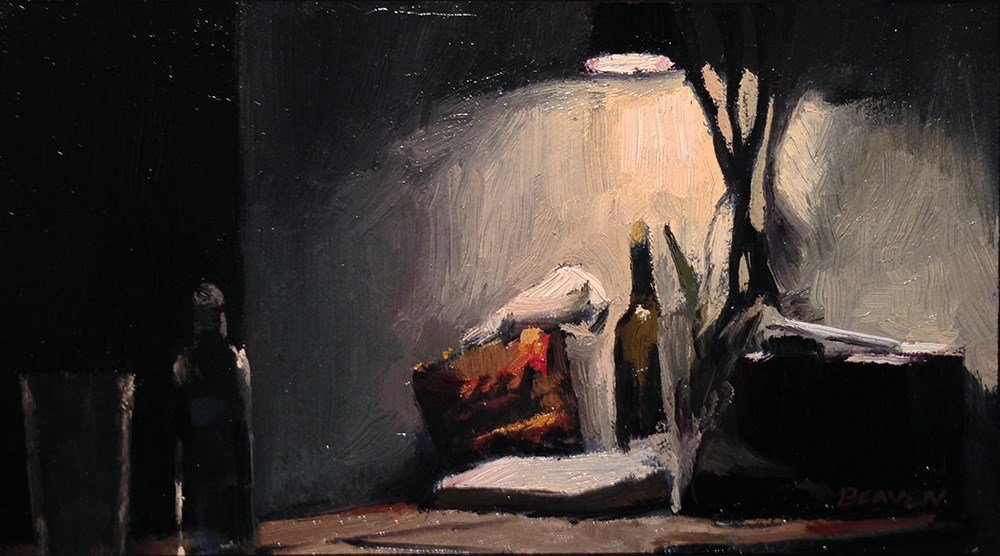 """""""Tree lamp and bottle of water"""" original fine art by Chris Beaven"""